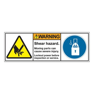 ANSI Z535 Safety Labels - Shear Hazard Lock Out Power