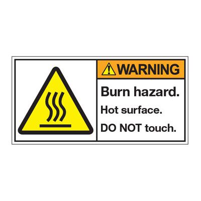 ANSI Z535 Safety Labels - Warning Burn Hazard Hot Surface Do Not Touch