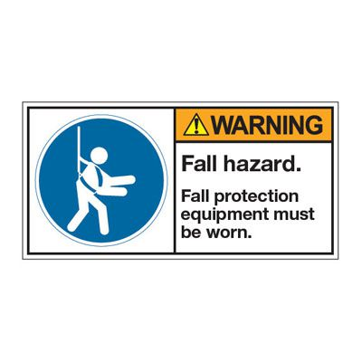 ANSI Z535 Safety Labels - Warning Fall Hazard