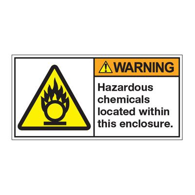 ANSI Z535 Safety Labels - Warning Hazardous Chemicals Located Within