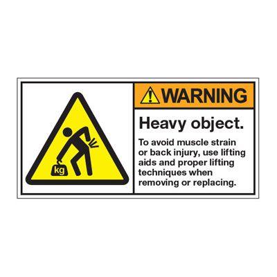 ANSI Z535 Safety Labels - Warning Heavy Object