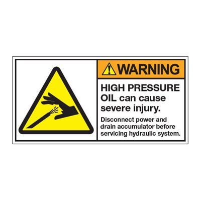 ANSI Z535 Safety Labels - Warning High Pressure Oil Can Cause Severe Injury
