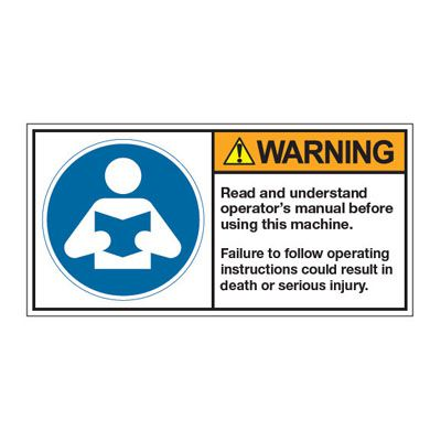ANSI Z535 Safety Labels - Warning Read And Understand Operator's Manual