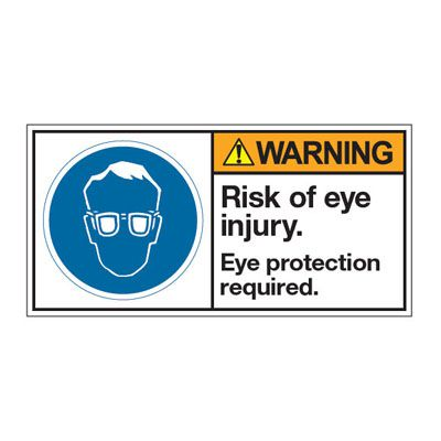 ANSI Z535 Safety Labels - Warning Risk Of Eye Injury Eye Protection Required