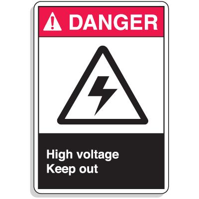 ANSI Z535 Safety Signs - Danger High Voltage Keep Out