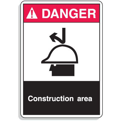 ANSI Z535 Safety Signs - Danger Construction Area