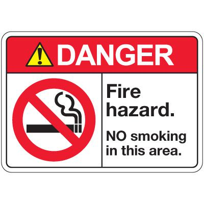ANSI Z535 Safety Signs - Danger Fire Hazard No Smoking