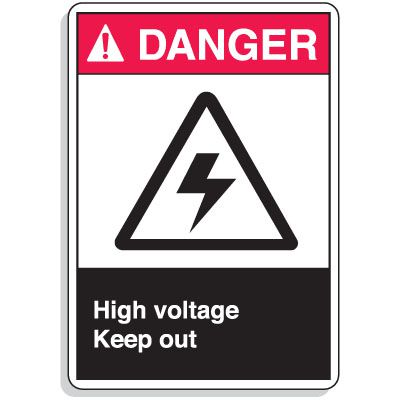 ANSI Z535 Safety Signs - Danger High Voltage Keep Out