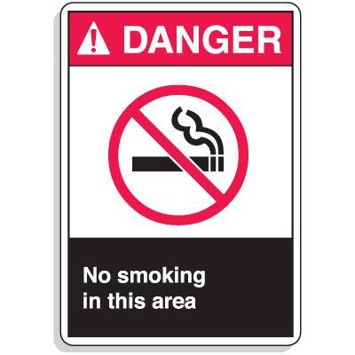 ANSI Z535 Safety Signs - Danger No Smoking Area