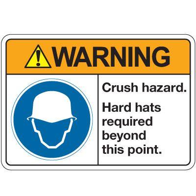 ANSI Z535 Safety Signs - Warning Crush Hazard