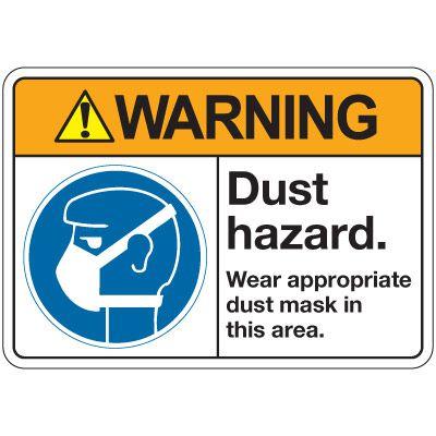 ANSI Z535 Safety Signs - Warning Dust Hazard