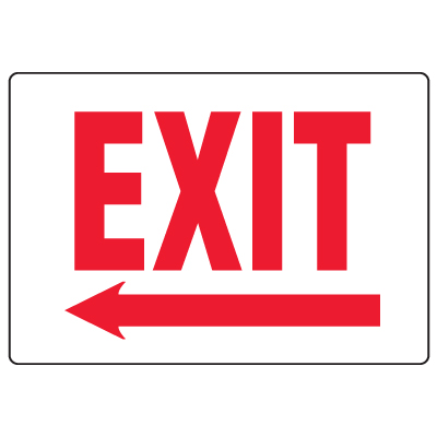 Anti-Microbial Signs - Exit (Arrow Left)