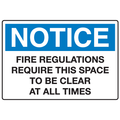 Anti-Microbial Signs - Notice Fire Regulations
