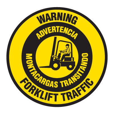 Anti-Slip Floor Markers - Warning Forklift Traffic (Bilingual)