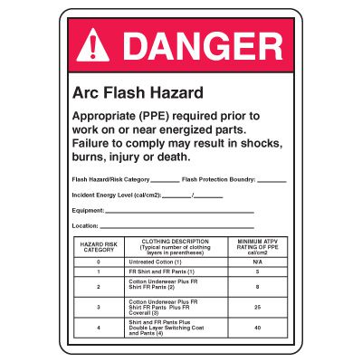 Arc Flash Safety Signs - Danger Arc Flash Hazard Appropriate (PPE)