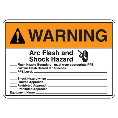 Arc Flash Safety Signs - Warning Arc Flash And Shock Hazard (Graphic)