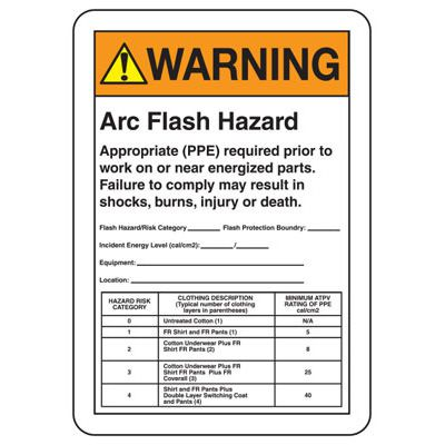 Warning Arc Flash Hazard - Industrial Arc Flash Sign