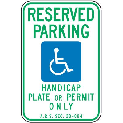 Arizona State Handicap Signs - Reserved Parking Handicap Plate