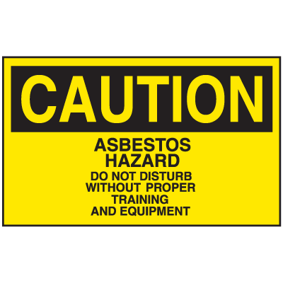 Asbestos Warning Labels - Caution Asbestos Hazard