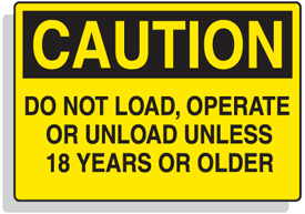 Baler Safety Labels - Caution Do Not Operate Unless 18 Years or Older