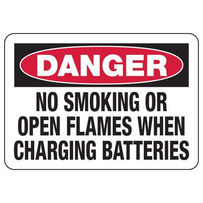 Danger No Smoking When Charging Battery - Battery Charging Signs