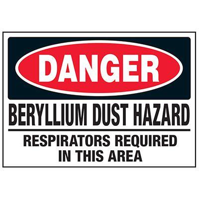 Beryllium Dust Respirators Required Labels