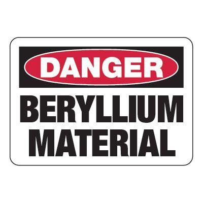 Beryllium Material - Chemical Warning Signs