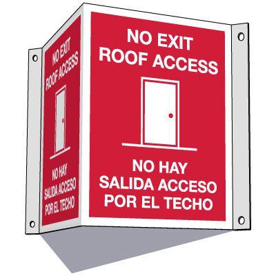 3-Way Bilingual No Exit Roof Access Sign