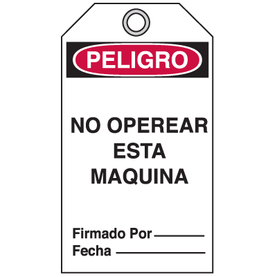 Bilingual Accident Prevention Tags - Danger/Peligro Do Not Operate This Machine