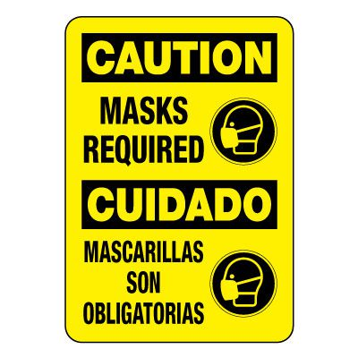 Bilingual Caution Masks Required Sign