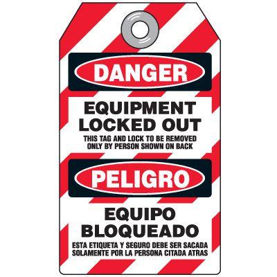 Danger Equipment Locked Out - Bilingual Padlock Tag