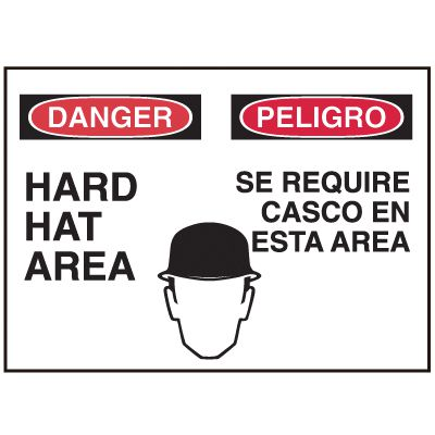 Bilingual Graphic Signs - Danger Hard Hat Area