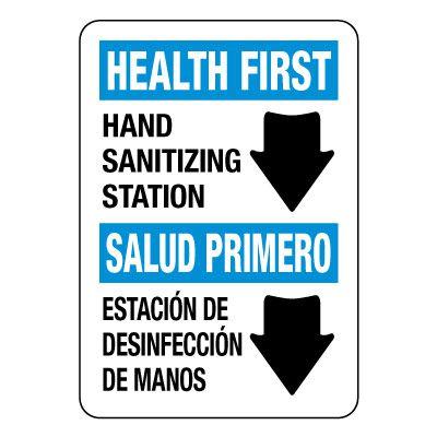 Bilingual Hand Sanitizing Station Sign