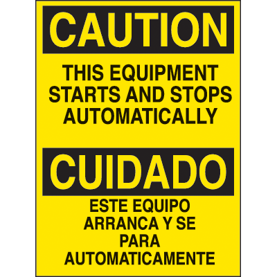 Bilingual Hazard Warning Labels - Caution This Equipment Starts Automatically