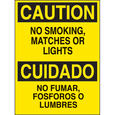 Bilingual Hazard Warning Labels - Caution No Smoking, Matches Or Lights