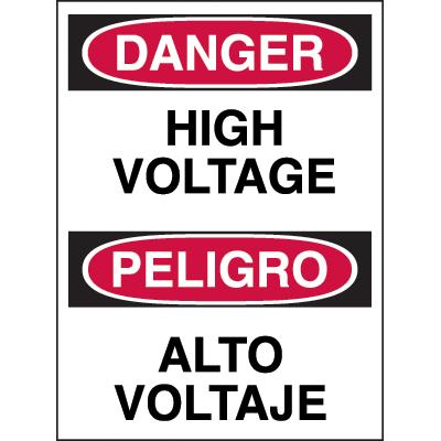 Bilingual Hazard Warning Labels - Danger High Voltage