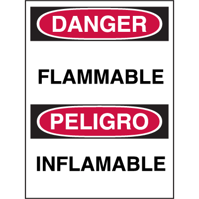 Bilingual Hazard Warning Labels - Danger Flammable