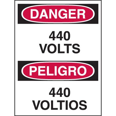 Bilingual Hazard Warning Labels - Danger 440 Volts