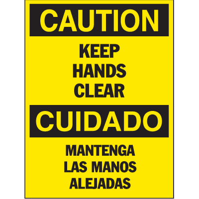 Bilingual Hazard Warning Labels - Caution Keep Hands Clear