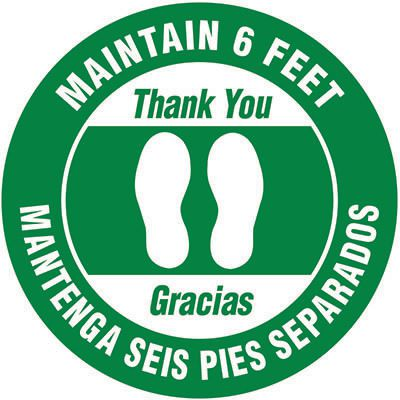 Bilingual Floor Safety Signs - Maintain 6 Feet - Green