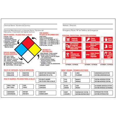 Bilingual NFPA Target Organ PPE Chemical Hazard Label