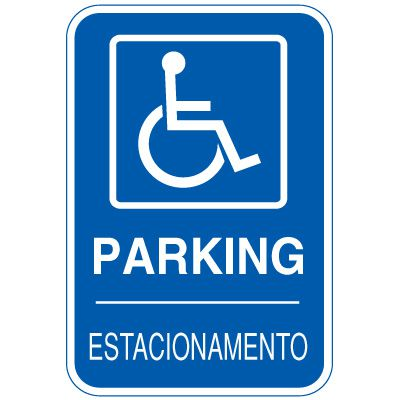 Bilingual Parking Signs - Parking (Handicapped Graphic)