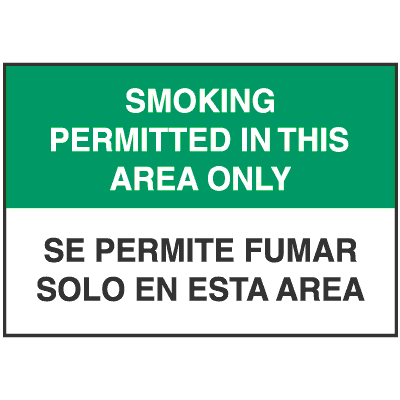 Bilingual No Smoking Signs - Smoking Permitted in This Area Only