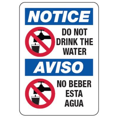 Bilingual Notice Do Not Drink The Water - Water Safety Signs