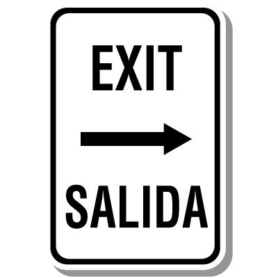 Bilingual Parking Signs - Exit with Right Arrow