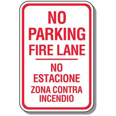 Bilingual Parking Signs - No Parking Fire Lane