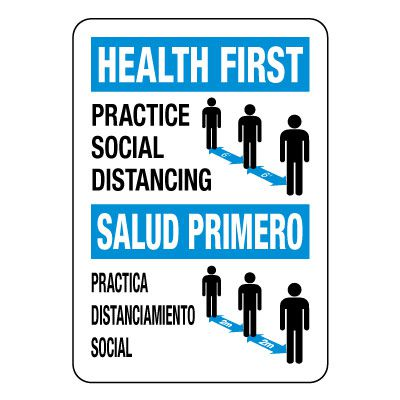 Bilingual Practice Social Distancing Sign