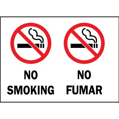 Bilingual Safety Signs - No Smoking