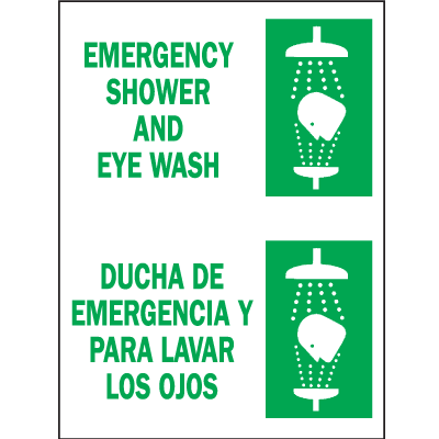Bilingual Eyewash Signs - Emergency Shower And Eye Wash