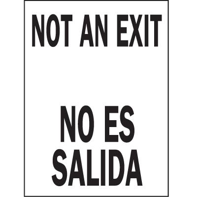 Not An Exit / No Es Salida Bilingual Safety Signs